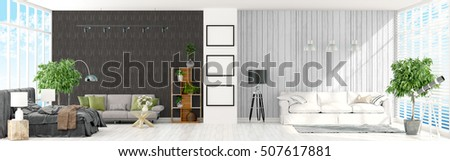 Modern bright interior . 3D rendering #507617881