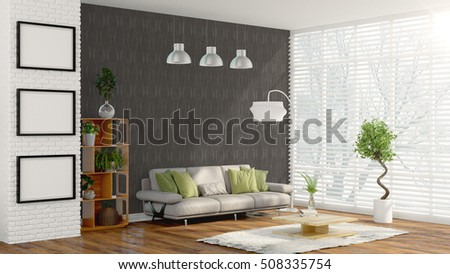 Modern bright interior . 3D rendering #508335754