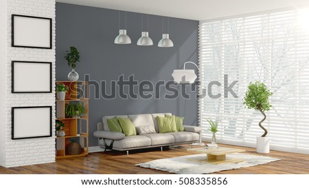 Modern bright interior . 3D rendering #508335856