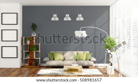 Modern bright interior . 3D rendering #508981657