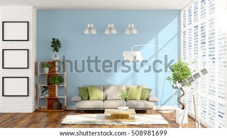 Modern bright interior . 3D rendering #508981699