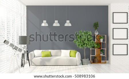 Modern bright interior . 3D rendering #508983106