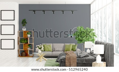 Modern bright interior . 3D rendering #512965240