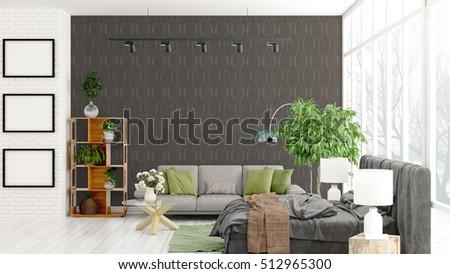 Modern bright interior . 3D rendering #512965300