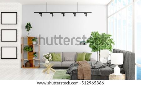 Modern bright interior . 3D rendering #512965366