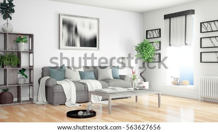 Modern bright interior . 3D rendering #563627656