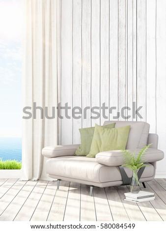 Modern bright interior . 3D rendering #580084549