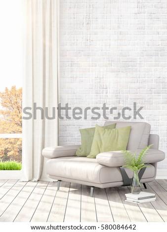 Modern bright interior . 3D rendering #580084642
