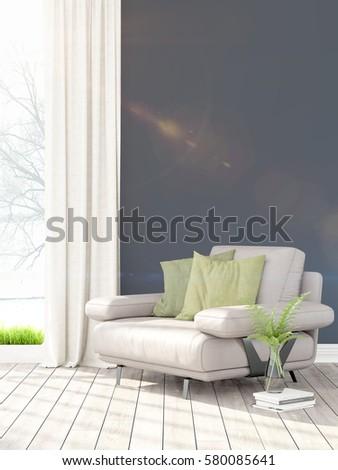 Modern bright interior . 3D rendering #580085641