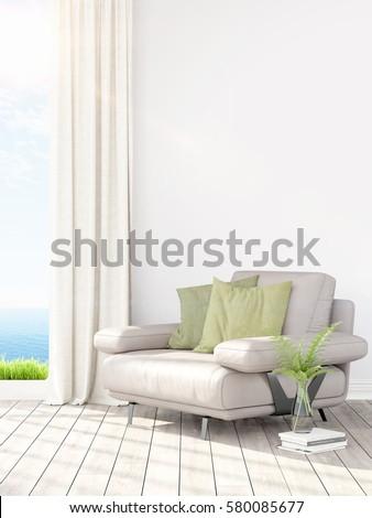 Modern bright interior . 3D rendering #580085677