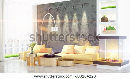 Modern bright interior . 3D rendering #603284228