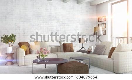 Modern bright interior . 3D rendering #604079654