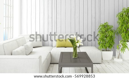 Modern bright interior with large window . 3D rendering #569928853