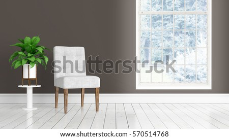 Modern bright interior with large window . 3D rendering #570514768