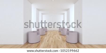 Modern bright interiors apartment 3D rendering illustration #1052199662