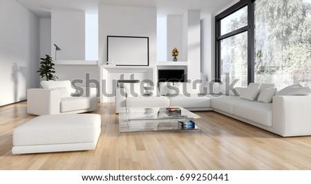 Modern bright interiors. 3D rendering #699250441