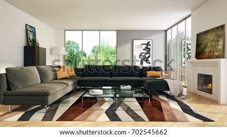 Modern bright interiors. 3D rendering #702545662