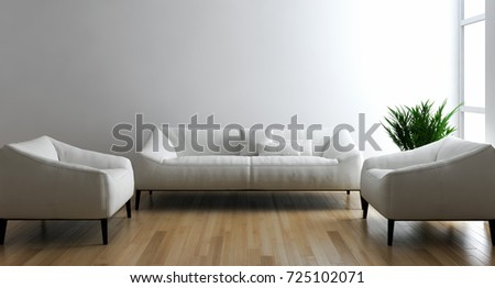 Modern bright interiors. 3D rendering illustration #725102071