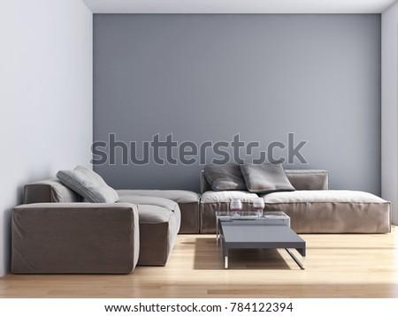 Modern bright interiors 3D rendering illustration #784122394