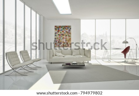 Modern bright interiors 3D rendering illustration #794979802