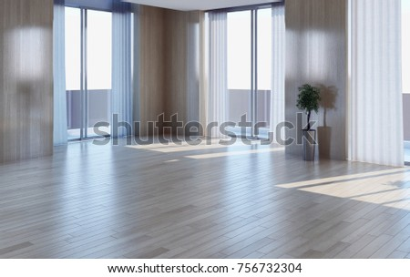 Modern bright interiors empty room. 3D rendering illustration #756732304