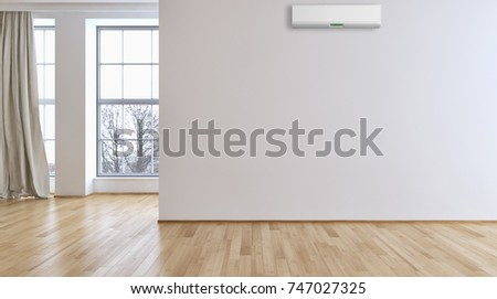 Modern bright interiors room with air conditioning, 3D rendering illustration