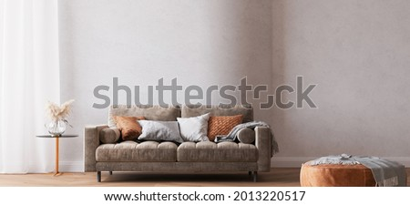 Modern bright living room, brown sofa on curved wall, 3d render, 3d illustration Photo stock ©