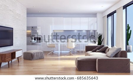 Modern bright living room. 3D rendering #685635643