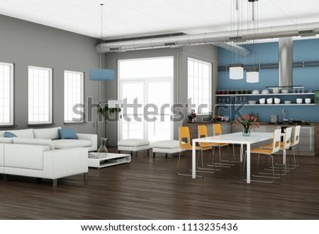 Modern bright living room interior design with sofas 3d Illustration #1113235436