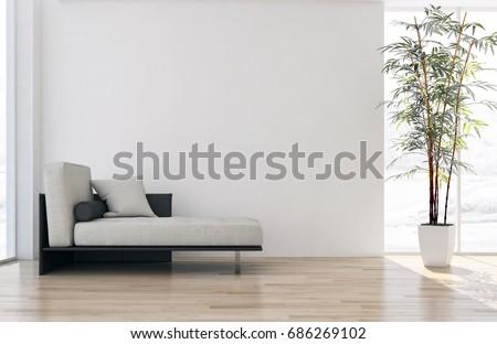 Modern bright living room, interiors. 3D rendering