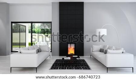 Modern bright living room, interiors. 3D rendering #686740723