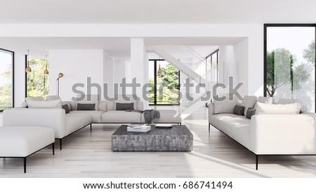 Modern bright living room Modern Day Ez Canvas 3d Illustration Of Modern Living Room Ez Canvas