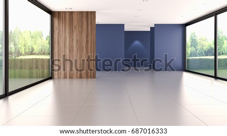 Modern bright living room, interiors. 3D rendering #687016333