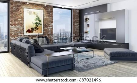 Modern bright living room, interiors. 3D rendering #687021496