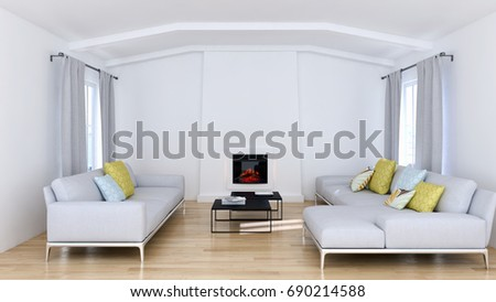 Modern bright living room, interiors. 3D rendering #690214588