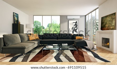 Modern bright living room lounge interior with air conditioning. 3D rendering #691109515