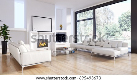 Modern bright living room, with white wall, interiors. 3D rendering #695493673
