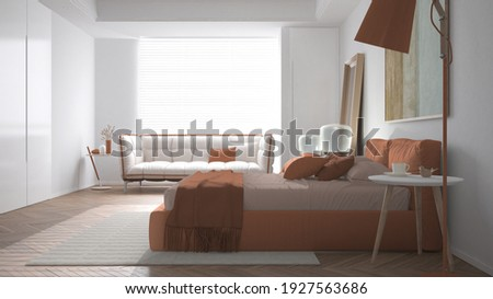 Modern bright minimalist bedroom in orange tones, double bed with pillows, duvet and blanket, parquet, window and sofa, bedside table, lamp, carpet and decors, interior design idea, 3d illustration
