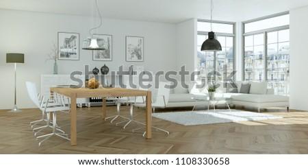 modern bright skandinavian flat interior design 3d Illustration #1108330658