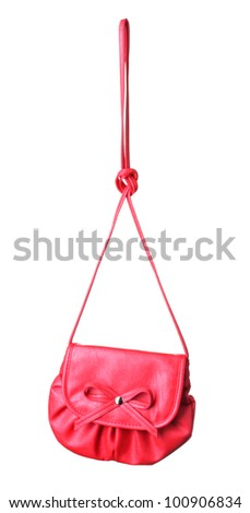 Modern bright woman's handbag isolated on white