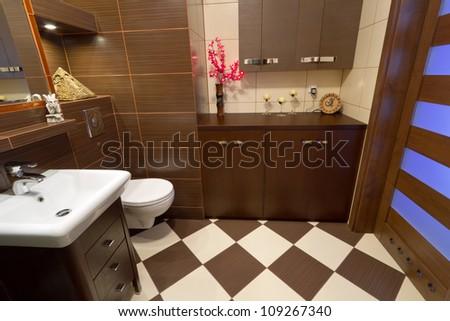 Modern brown bathroom interior