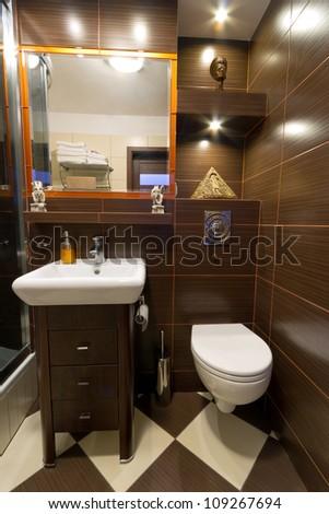 Modern Brown Bathroom Interior Stock Photo 109267694 : Shutterstock