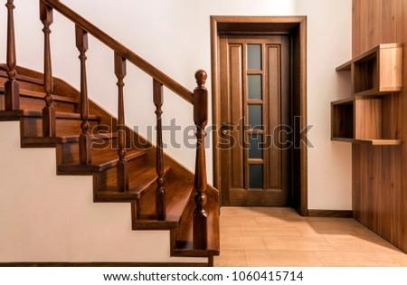 modern brown oak wooden stairs  ...
