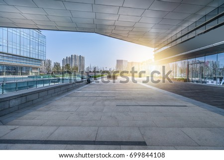 modern building and empty pavement, china.  #699844108