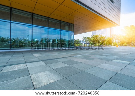modern building and empty pavement, china.