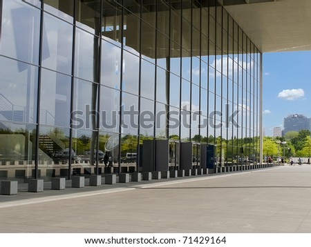 modern building and glasses reflection - stock photo