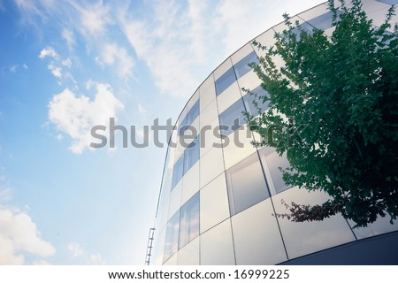 Modern building and tree