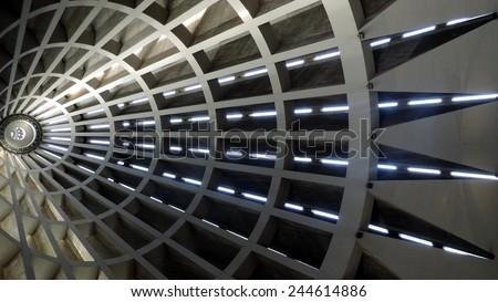 Modern building ceiling geometry. \