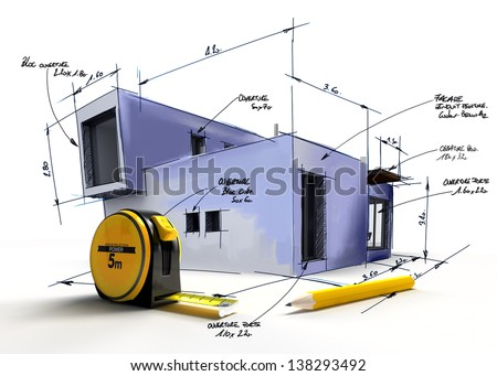 Modern building draft with notes and measurements by a pencil and a tape measure