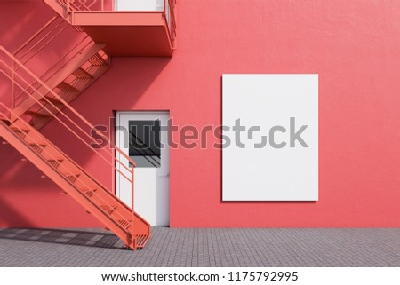 Modern building exterior with red walls, white doors and emergency exit stairs. Concept of plan b and creative thinking. Vertical mock up poster. 3d rendering Foto d'archivio ©
